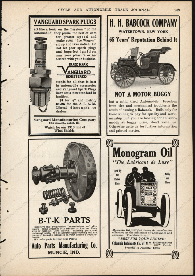 H. H. Babcock Automobile magazine advertisement, ca: 1905 - 1907, Cycle and Automobile Trade Journal, p. 239