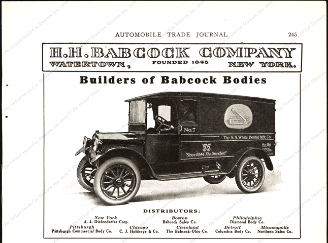 H. H. Babcock Company truck and automobile bodies, Automobile Trade Journal p. 245