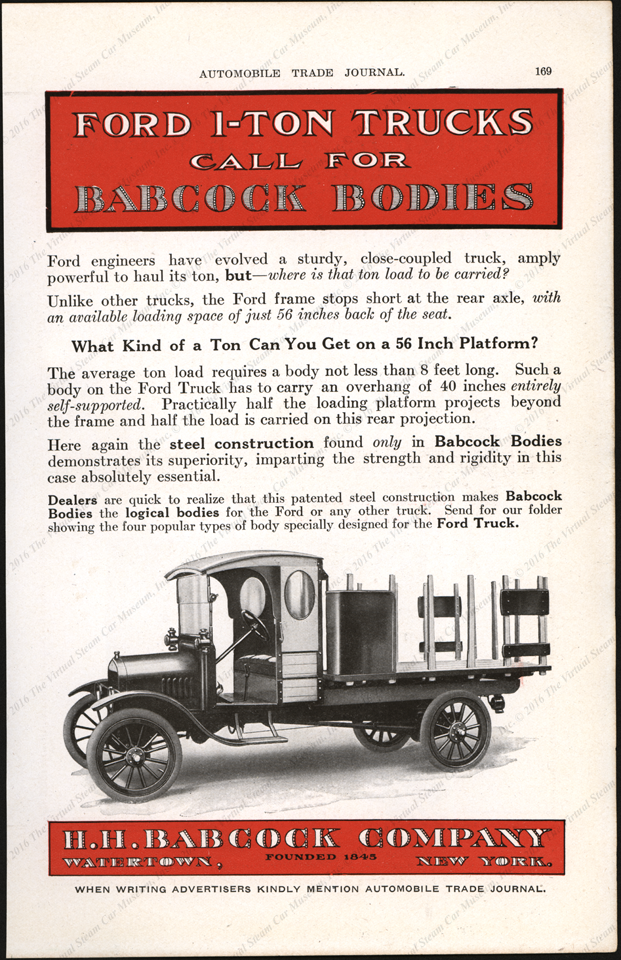 H. H. Babcock Company, 1-Ton Ford Truck Bodies, Magazine Advertisement, 1917, Automobile Trade Journal P. 169.