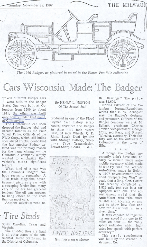 Milwaukee Journal Article about Wisconsin Built Cars, Henry Norton, November 19, 1967, Photocopy, Conde Collection.