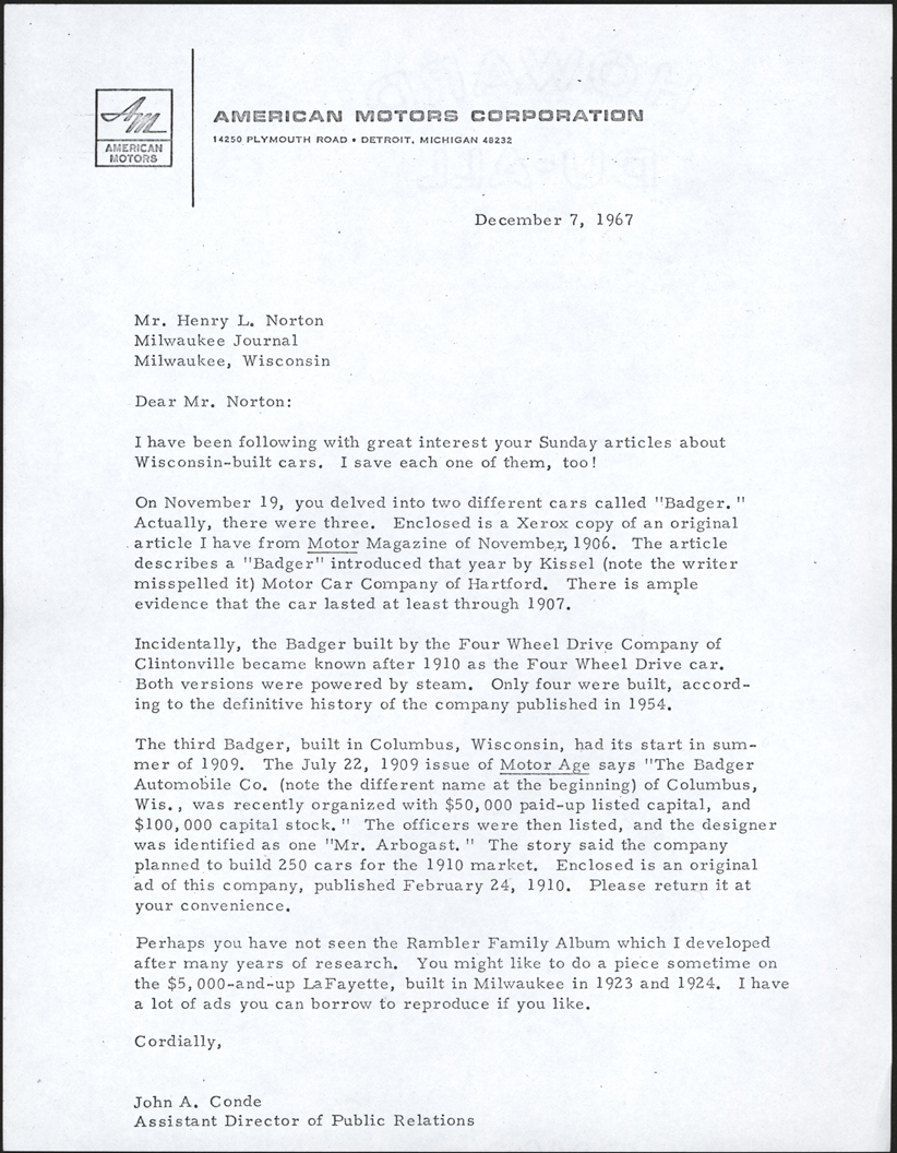 Badger Four-Wheel Drive Auto Company, Clintonville, WI, Letter from John to Henry Norton, December 7, 1967, Photocopy, Conde Collection