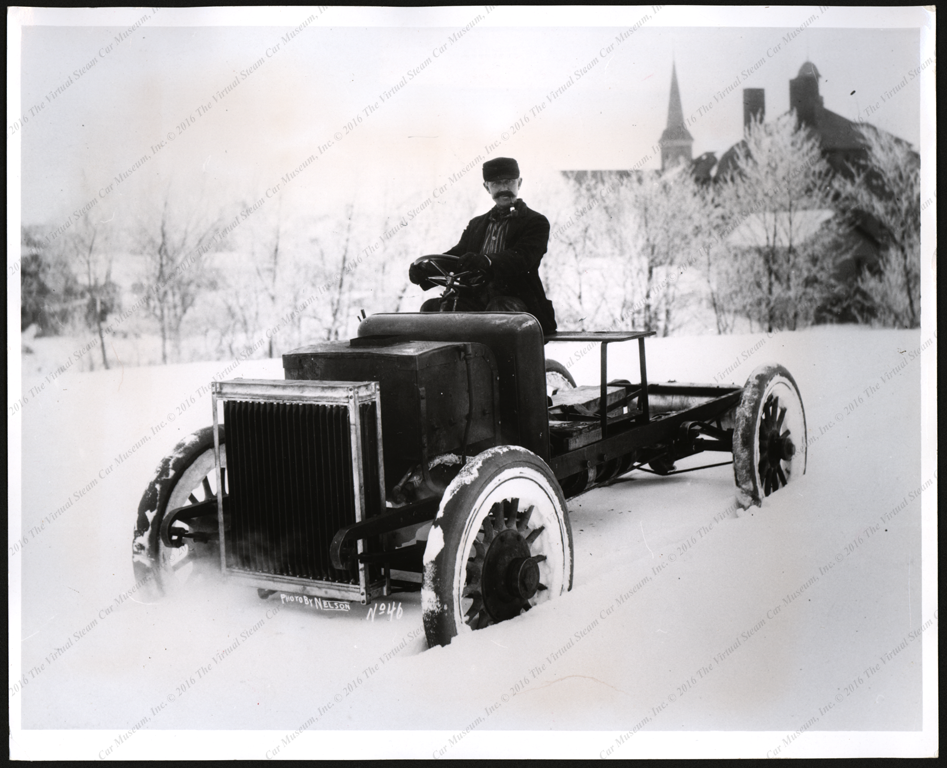Four Wheel Drive Corporation, First Foud Wheel Drrive vehicle, Steam Powered, press photograph, 1908, October 10, 1967.  Front