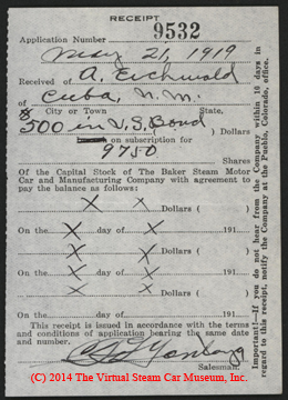 Baker Steam Motor Car and Manufacturing Company, May 21, 1919, $500 Receipt for Capital Stock, A. Eichwald, Cuba, NM