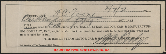 Baker Steam Motor Car and Manufacturing Company Capital Stock Receipt February 7, 1922