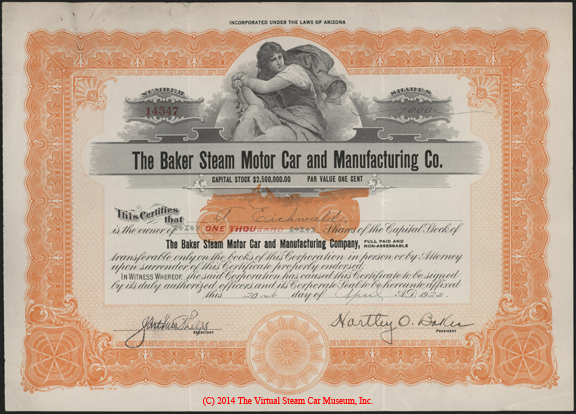 Baker Steam Motor Car and Manufacturing Company, April 20, 1922, 1000 Shares Stock Certificate A. Eichwald Front