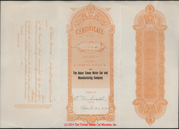 Baker Steam Motor Car and Manufacturing Company, April 20, 1922, 1000 Shares Stock Certificate A. Eichwald Reverse