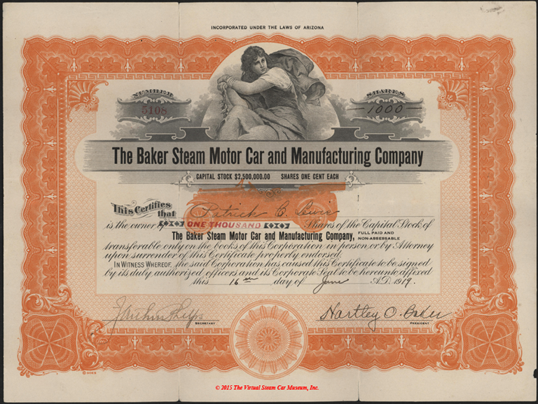 Baker Steam Motor Car and Manuracturing Company stock certificate, June 16, 1919, Front