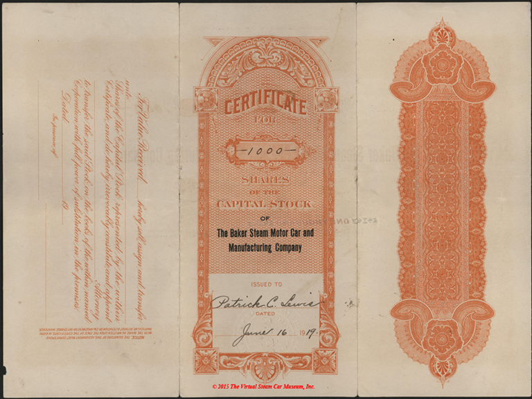 Baker Steam Motor Car and Manuracturing Company stock certificate, June 16, 1919, Reverse