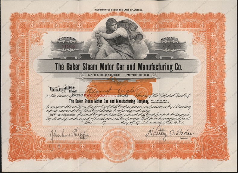 Baker Steam Motor Car and Manufacturing Company, Stock Certificate, Feburary 17, 1921, David Ogle