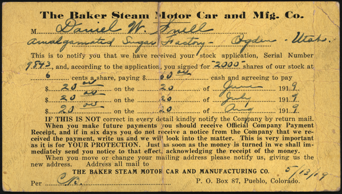 Baker Steam Motor Car and Manufacturing Company, May 13, 1919 Stock Certificate receipt