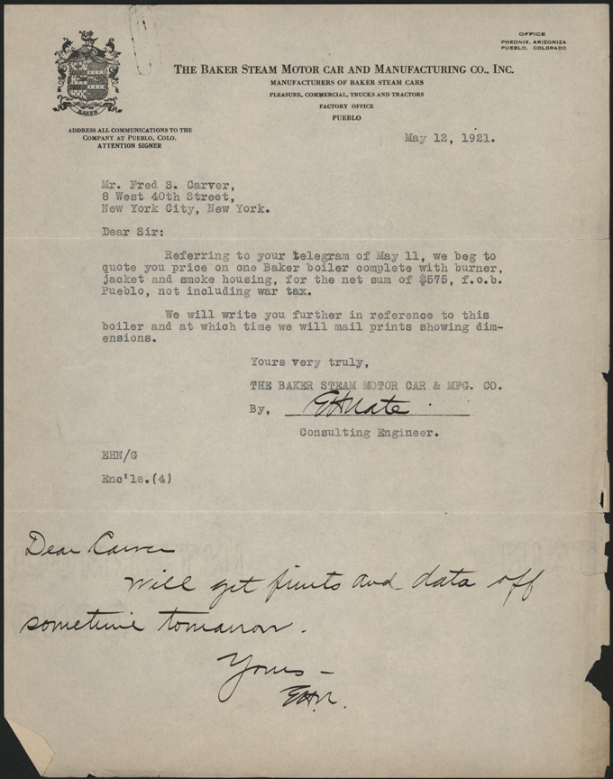 Baker Steam Motor Car & Manufacturing Company, May  12, 1921, Letter from E. H . Nate to Fred S. Carger