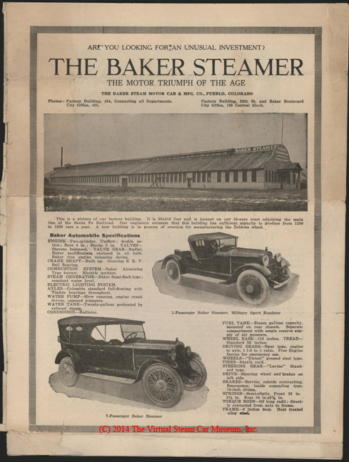 The Baker Steam Car and Manufacturing Company, Stock Sales Brochure, The Motor Triumph of the Age