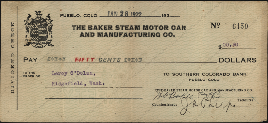 Baker Steam Motor Car and Manufacturing Comapny, divident check, January 28, 1922  Leron O'Dolan front