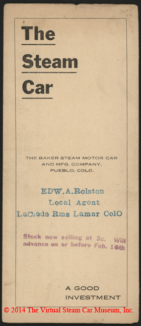 Baker Steam Motor Car and Manufacturing Company brochure, ca: 1922, Page 1