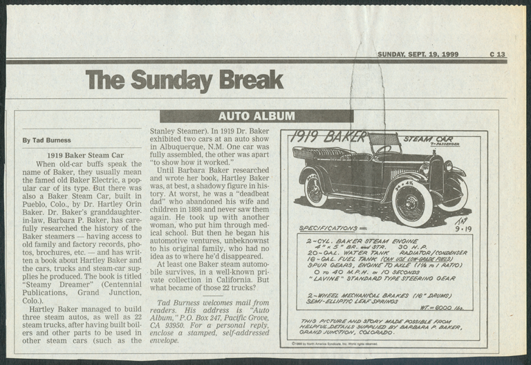Baker Steam Motor Car and Manufacturing Company, Newspaper Feature Story, Ted Burness, September 19, 1999