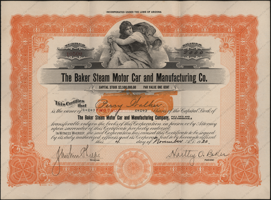 Baker Steam Motor Car and Manufacturing Company, November 4, 1920 Stock Certificate 10500 Front