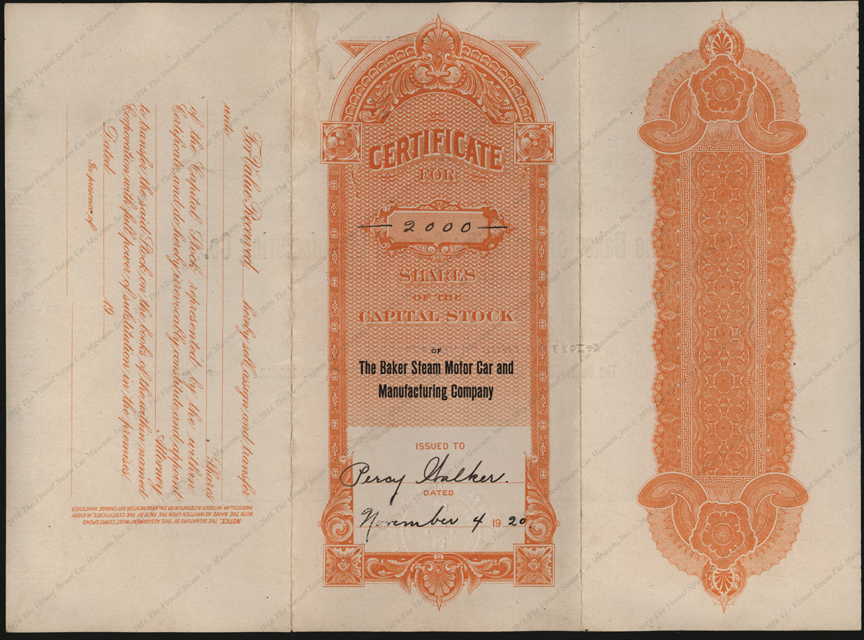 Baker Steam Motor Car and Manufacturing Company, November 4, 1920 Stock Certificate 10500, Reverse