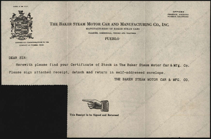 Baker Steam Motor Car and Manufacturing Company, November 4, 1920 Stock Certificate Instructions 10500