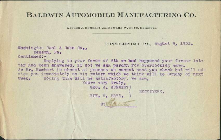 Baldwin Automobile Manufacturing Company, Bankruptcy Document