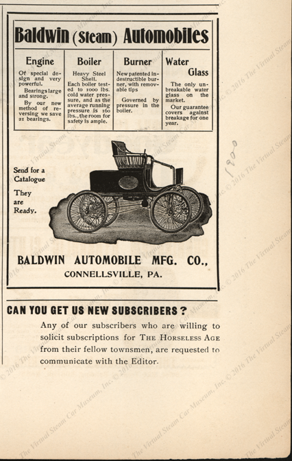 Baldwin Automobile Manufacturing Company, August 22, 1900, Horseless Age Magazine Advertisement, page 7