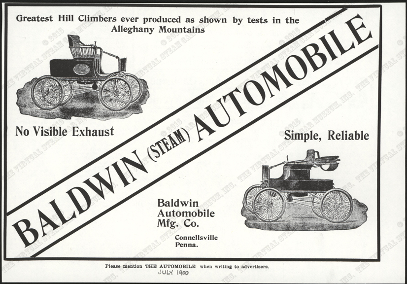 Baldwin Automobile and Manufacturing Company, July 1900 Magazine Advertisement, The Automobile, Conde Collection