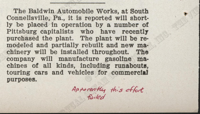 Baldwin Automobile and Manufacturing Company, August 1908, Magazine Article, Cycle and Automobile Trade Journal, P. 138, Photocopy, Conde Collection
