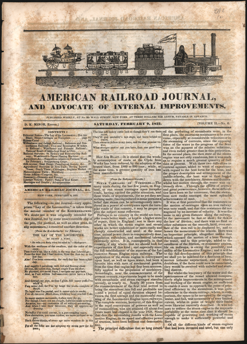 Baltimore Gazette Steam Carriages on Turnpikes Article, 1833, Reprinted from American Railroad Journa.