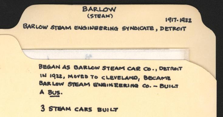 John Conde's File Folder, Barlow Steam Car, Barlow Steam Engineering Syndicate