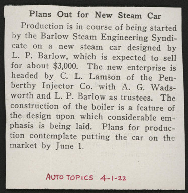 Barlow Steam Car Company, Barlow Steam Engineering Syndicate, APril 1, 1922, Auto Topics Article