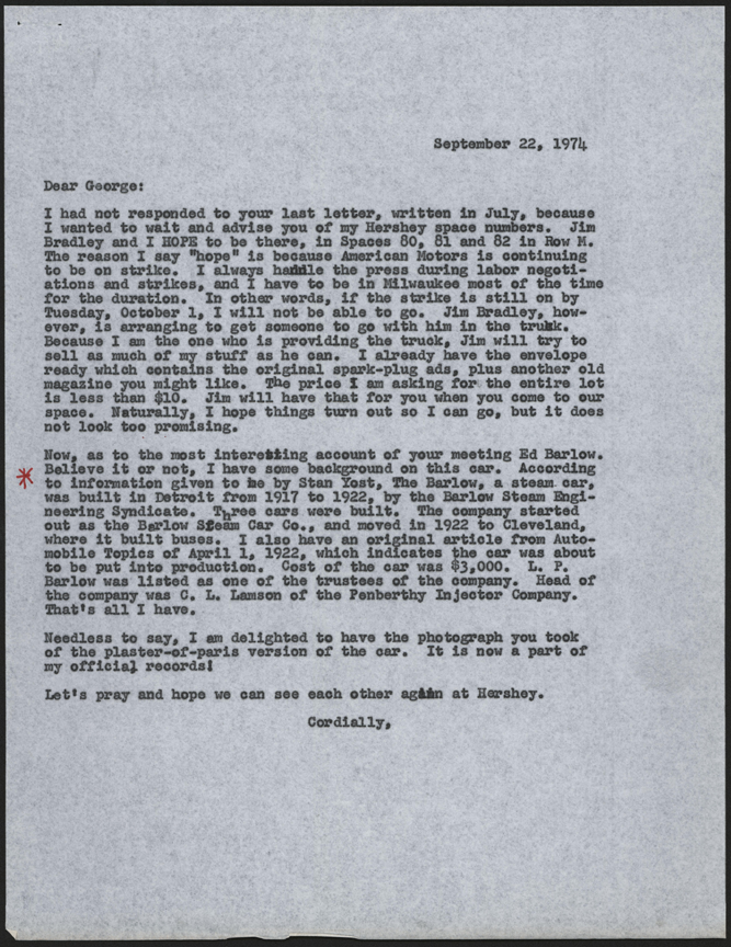 Barlow Steam Car Company, Barlow Steam Engineering Syndicate, John A. Conde to George S. Clark Letter, September 22, 1974