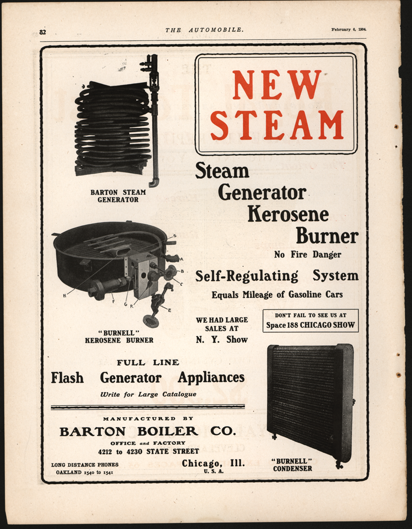 The Barton Boiler Company of Chicago, IL placed this full page advertisement in the February 6, 1904 issue of The Automobile, page 82