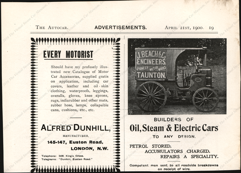 J. Beach & Company, Pioneer Motor Works, Taunton, England, Steam Car April 21, 1900 Magazine Advertisement, The Autocar