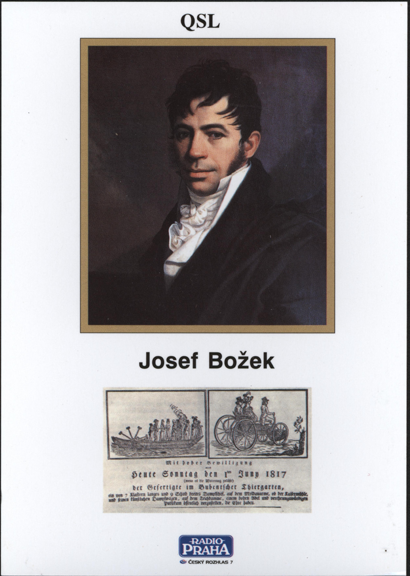 Josef Bozek 1817 Steam Car Postcard 2006 Radio Prague, Front