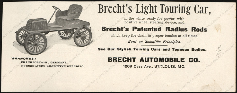 Brecht Automobile Company, Magazine Advertisement, December 1902, Horseless Age