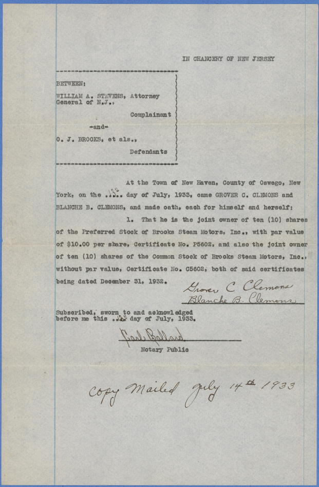 Brooks Steam Motors, Inc., Stock Ownership Statement, July 13, 1933, Clemons
