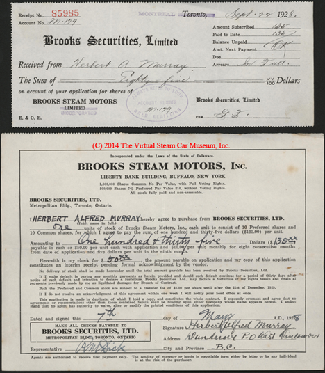 Brooks Steam Motors, Inc., Stock Purchase Receipts, May 7, 1928, Murray, Charles
