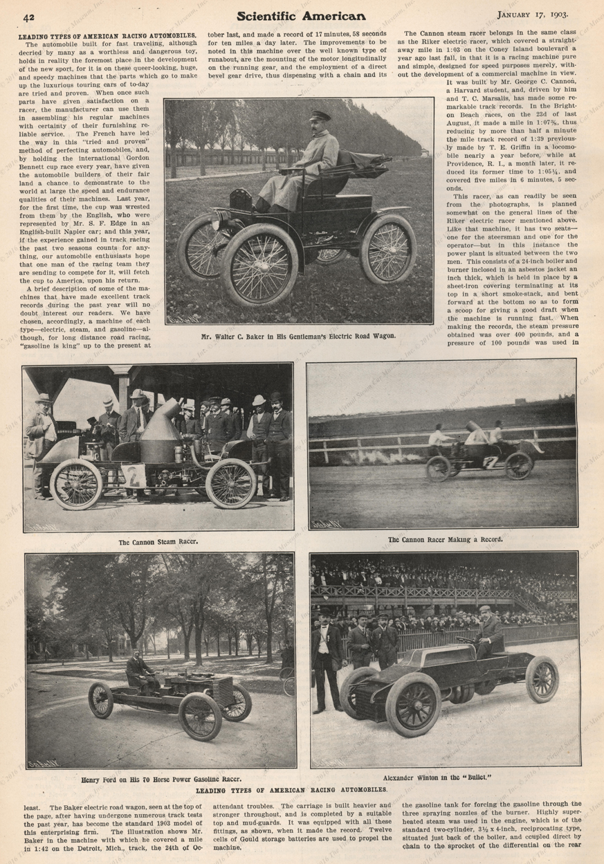 George C. Cannon Race Car, January 1903 Scientific American Article, Page 42