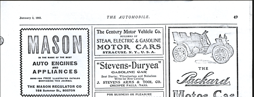 Century Motor Venicle Company, Syracuse, NY, January 3,  1903 The Automobile Advertisement, Conde Collection