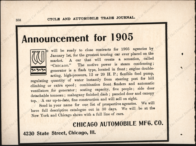 Chicago Automobile Manufacutring Comapany, Magazine Advertisement Cycle and Automobile Trade Journa. 1904, p. 358