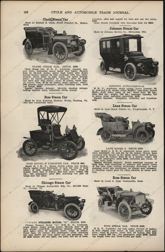 Chicago Aotomobile Manufacturing Company, 1906  Cycle and Automobile Trade Journal, steam car section, 1906