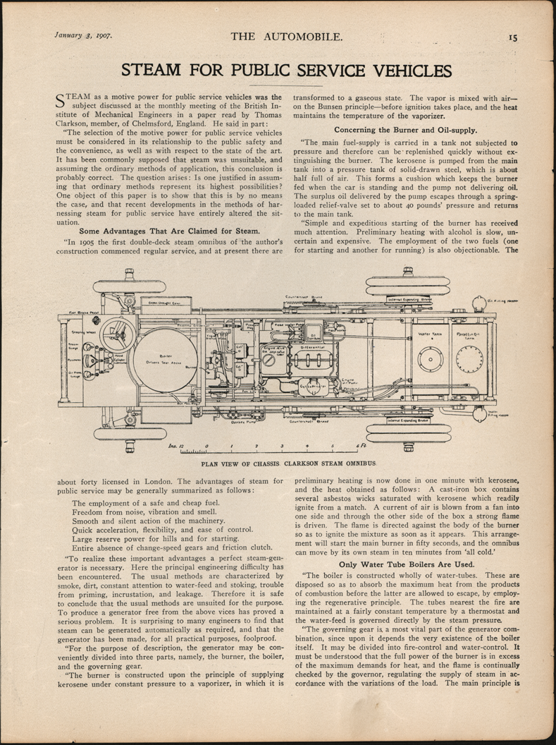cThomas Clarkson published this article about his Steam Onmibus on January 3, 1907 in The Automobile, pp. 15 and 16