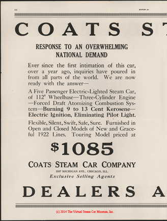 Coats Steam Motor Car Company, Motor Magazine Dealer's Solicitation Advertisement, January 1922, p. 210, e. H. Bryson
