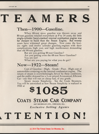 Coats Steam Motor Car Company, Motor Magazine Dealer's Solicitation Advertisement, January 1922, p. 211, e. H. Bryson