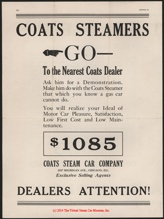 Coats Steam Motor Car Company, Motor Magazine Dealer's Solicitation Advertisement, January 1922, p. 212, e. H. Bryson