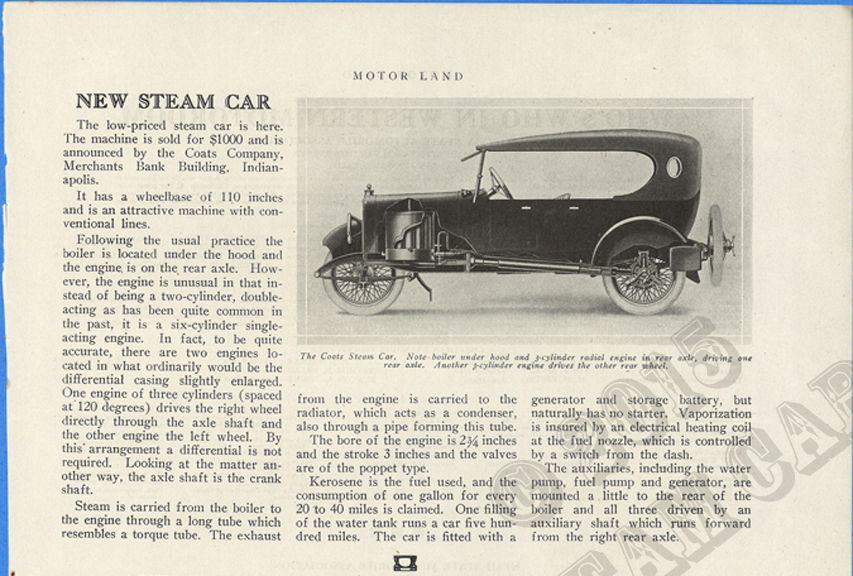 Coats Steam Car, Motor Land Magazine, May 1921, page 21