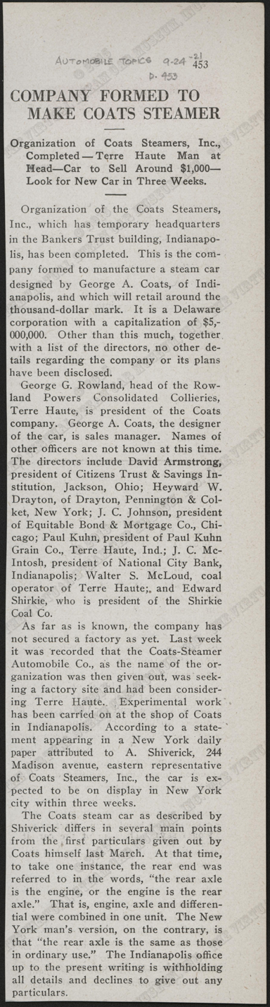 Coats Steam Car Company, September 24, 1921, Automobile Topics, P. 453, Conde Collection.