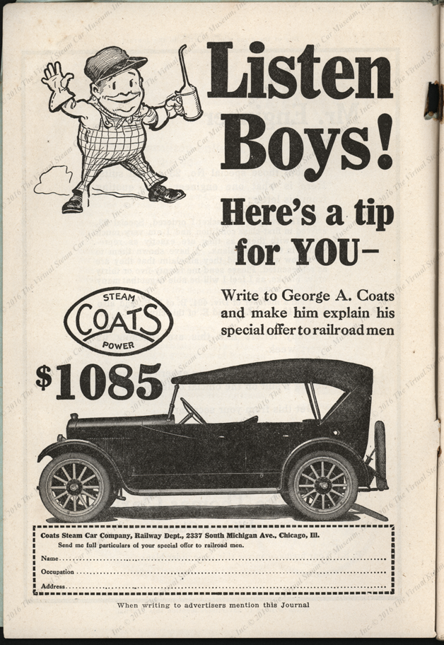 Coats Steam Car Company, April1922 advertisement in Locomobive Engineers Journal, Vol. 56, No. 4