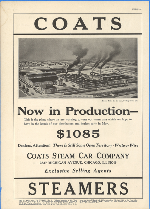 Coats Steam Car Company, Motor Magazine, April 1922, Vil. XXXVII. No. 5, p. 2.