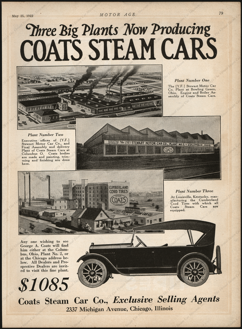 Coats Steam Car Company, Magazine Advertisement, Motor Age, May 24, 1922, p. 79