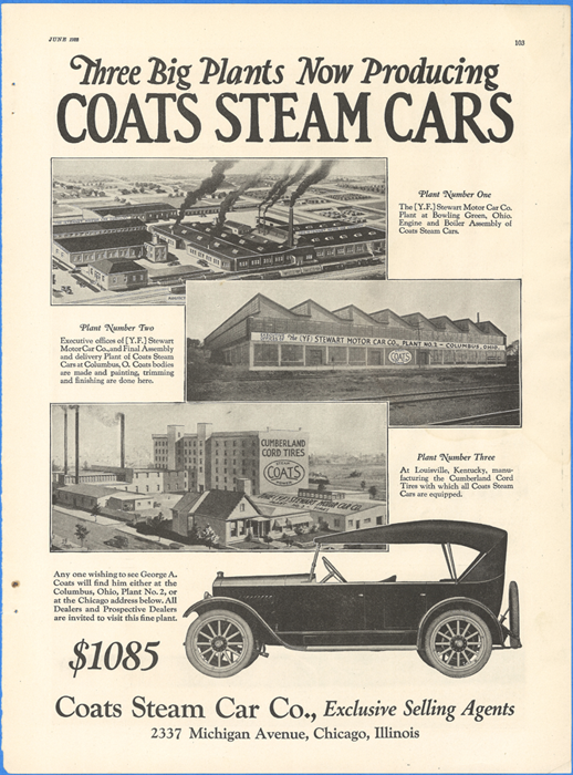 The Coats Steam Car Company, Motor Magazine, June 1922, p. 103.